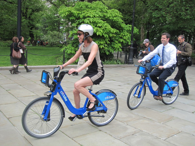 <p>DOT Commissioner Janette Sadik-Khan showed off one of the new Citi Bikes.</p>