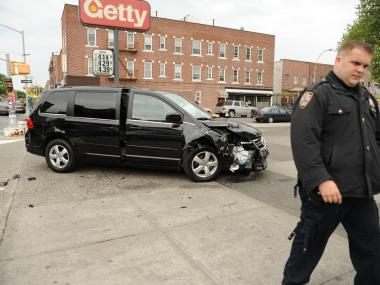 A minivan and livery cab collided near a Getty gas station at the corner of 59th Street and 18th Avenue on Tues., May 8, 2012.