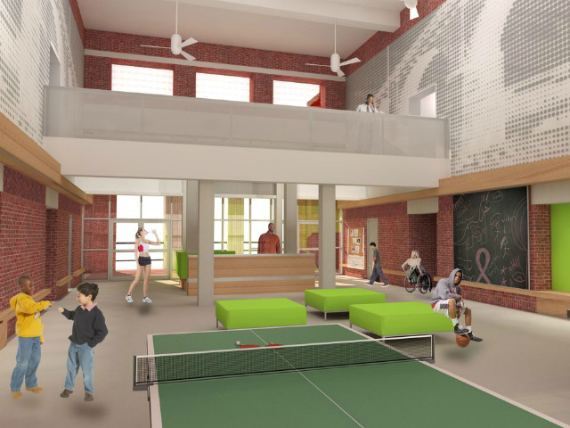 The new space is intended to provide children and adults a sun-drenched community space to gather while enjoying sports and recreational activities at Amsterdam Avenue and West 173rd Street.