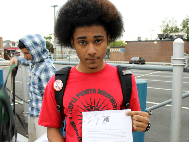 Ayala passed out copies of a letter in school that he wrote urging students to unite and stand up for their school. The letter contains the Black Panther Party logo at the top.
