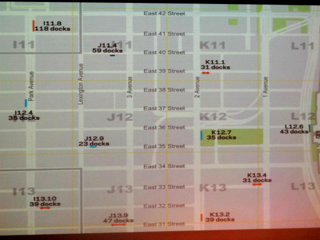 Blue lines mean the stations will be on a sidewalk. Green lines indicate the bike-share stations will be in a park or public plaza.