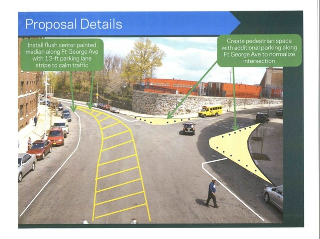 The DOT proposes installing a new mediana and new pedestrian spaces to calm traffic along Fort George Avenue.