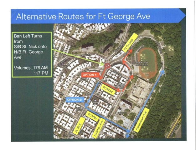 Propsed alternative routes for traffic along Fort george Avenue.