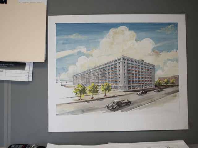 A rendering of the building renovations in the on-sight offices of Salmar Properties, the company in charge with the Liberty View project. May 8, 2012.