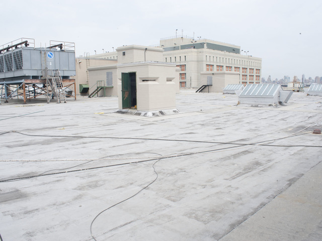 The now empty space that will be the site of the rooftop farm, according to plans. Construction is set to begin in late 2012. May 8, 2012.