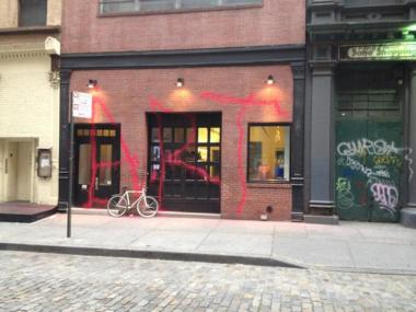Marc Jacobs tweeted a picture of his SoHo store after it was graffiti bombed May 8, 2012.