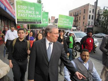 Manhattan Borouh President Scott Stringer, a mayoral hopeful, said the march against violence on May 9, 2011 was necessary because of a rise in violent crime in East Harlem.