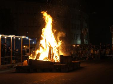 Community members celebrate Lag B'Omer with a giant bonfire in Crown Heights on Wednesday, May 9, 2012. The festival, which is popular among secular Israelis and religious Jews worldwide,  celebrates the 33rd day of the counting of the Omer, a period between the major religious holidays of Passover and Shavuot.