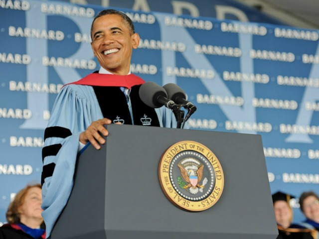 President Barack Obama delivers his commencement speech to the Barnard class of 2012.