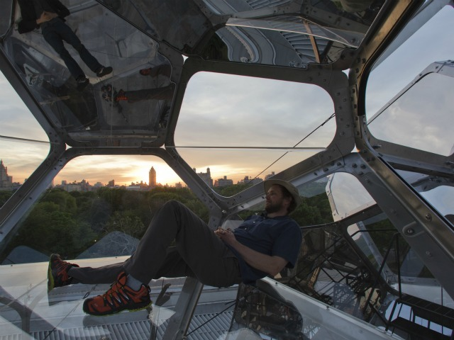 Tomas Saraceno in his Cloud City at the Met.