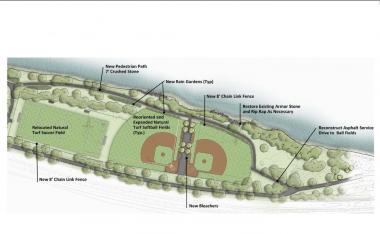 Rendering of Fort Washington Park ball fields.