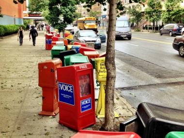 Hundreds of newspaper boxes were moved from Seventh Avenue to West 23rd Street for Obama's visit.