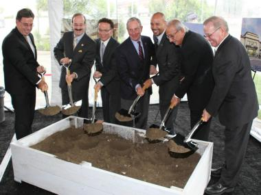 Ceremonial groundbreaking for developer Prestige Groundbreaking at the new mall with (from l to r): Macy's SVP and Director of Stores for NYC and the North East Randy Scalise; Rep. Eliot Engel; Councilman James Vacca; Mayor Michael Bloomberg; Bronx Borough President Ruben Diaz Jr.; and Prestige CEO and Chairman Sam Shalem, and President Irving Pergament.