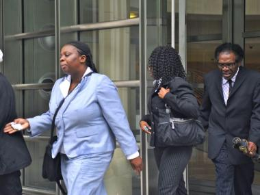 Family members of Devon Daniels leaving the Brooklyn Federal courthouse after his arraignment on Tuesday afternoon. Daniels' sister, Devian Daniels (left) represented him in court. May 15, 2012.