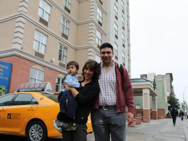 Jose Martinez  arrived in New York from Argentina along with his wife and son. The family is staying at Country Inn & Suites on Crescent Street.