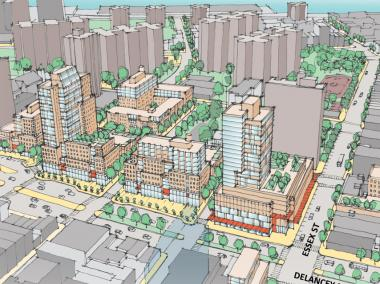 An artists impression of Seward Park Urban Renewal Area that has been proposed for the Lower East Side.