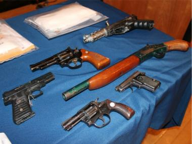 Six weapons seized over the course of the investigation.