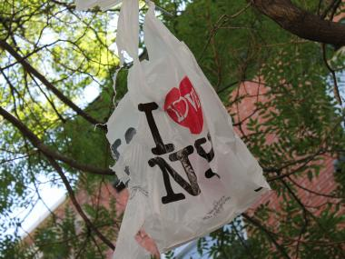"The ""I Love NY"" shopping bag was left hanging from a tree on Bedford Avenue after cops decided it was actually not harmful."