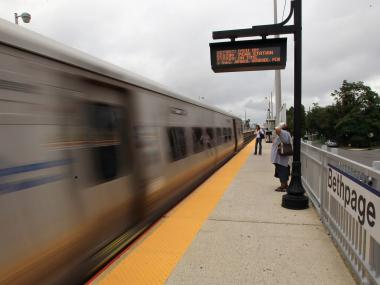 Long Island Rail Road service was suspended on the Ronkokoma Branch line Monday, June 11, 2012, after an LIRR train struck a vehicle near the Central Islip station, the MTA said.