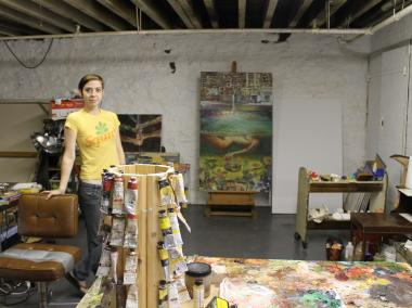 Amber Hany stood in her new studio space on Franklin Street in Greenpoint. She and 14 other artists will be working in the basement.