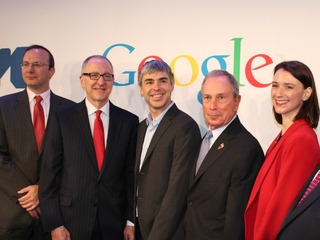 <p>Mayor Michael Bloomberg stands, smiling, as Technion President Peretz Lavie thanks the City of New York.</p>