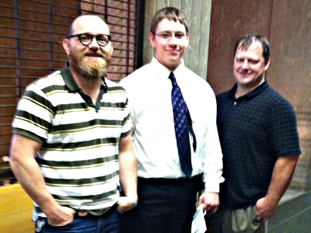 Clayton Baltzer, middle, with his father, Tim Baltzer, right, and uncle Daniel Baltzer, left.