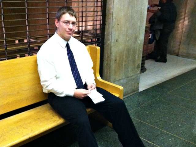 Clayton Baltzer waits for his hearing at Manhattan Criminal Court Monday.