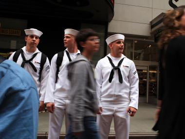Sailors tour Times Square during Fleet Week 2010.
