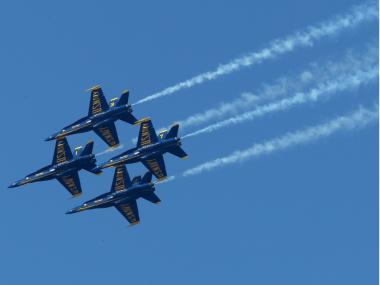 U.S. Navy Blue Angels F/A-18 Hornets practice their performance ahead of a Fleet Week air show in San Francisco, Calif. The jets will fly over the Hudson River on Wednesday to herald the start of Fleet Week.