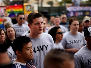 Active LGBT Servicemembers march in the San Diego Pride Parade in July. The repeal of Don't Ask, Don't Tell has thrilled gay military members for Fleet Week.