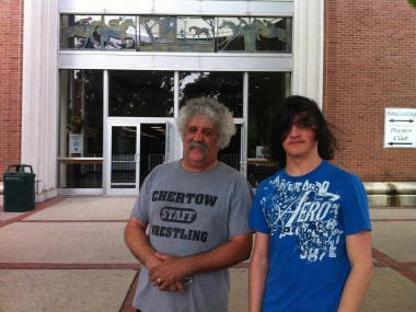Ray Novelli and his son, Ray Jr., showed up at 6 a.m. to get their Belmont Stakes tickets on May 23, 2012.