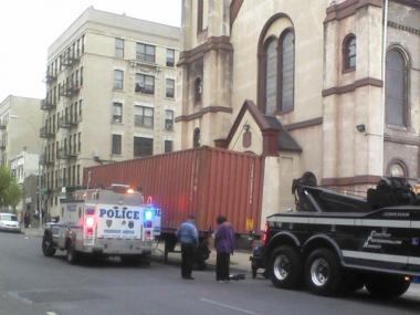 Police eventually towed a large shipping container that was illegally parked for several days outside of Trinity Methodist Church at 1076 Washington Ave. in The Bronx.