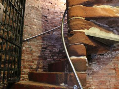Visitors will climb this staircase to the roof of Castle Williams on Governors Island.