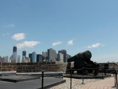 This Civil War-era canon on the roof of Castle Williams could fire a shot nearly all the way to Washington Square Park.