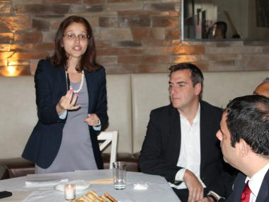 Assemblywoman Aravella Simotas speaks during Smart Power NY meeting on Wednesday, May 23, 2012.