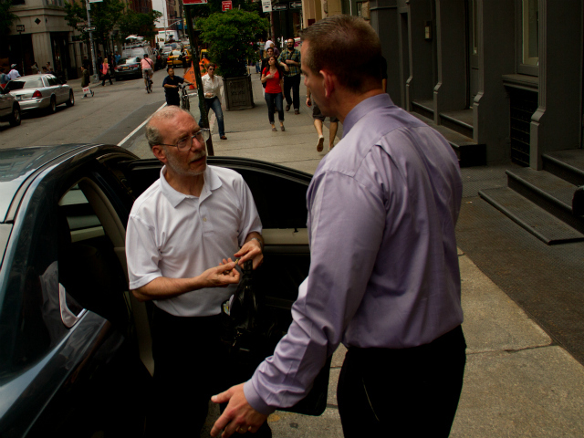 Stanley Patz, left, Etan Patz's father, arrived at his SoHo home May 25, 2012.