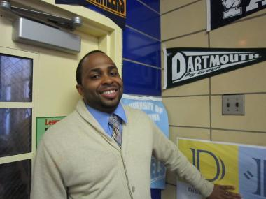 Emmanuel George poses in the hallway of Democracy Prep in Harlem, May 18, 2012.