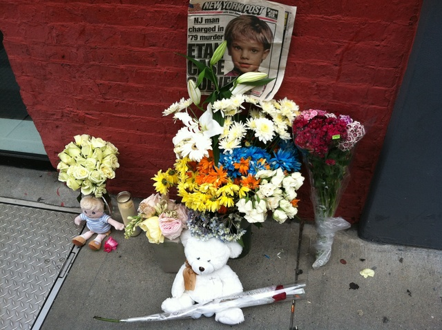 A small memorial appeared the same day Pedro Hernandez was arraigned for the 1979 murder of Etan Patz, on May 25, 2012.