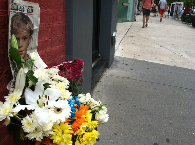 A shrine went up in memory of Etan Patz on May 25, 2012 outside the former bodega where suspect Pedro Hernandez worked in 1979.