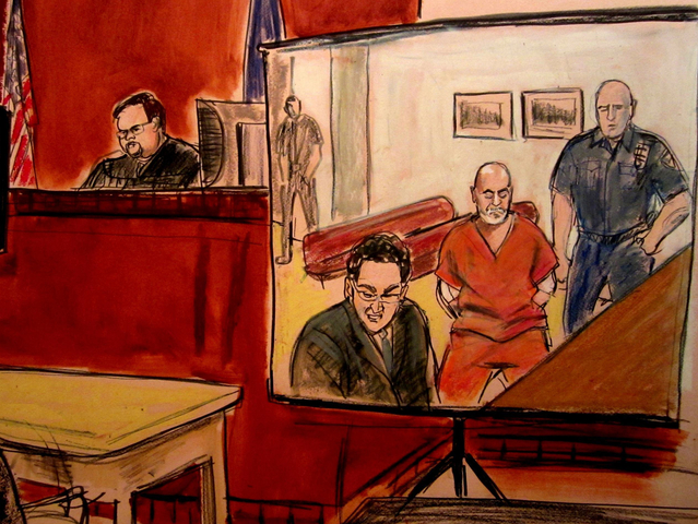 Pedro Hernandez, who is in custody at Bellevue Hospital Prison Ward, appeared on May 25, 2012 for arraignment by video. A courtroom sketch artist's depiction.