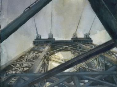 "Antonio Masi's watercolor piece ""A View From Below"" is on display at the Transit Museum."