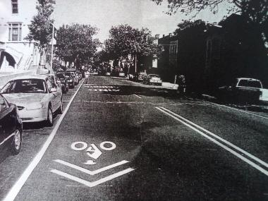 An example of the proposed design for bicycle lanes on Fifth Avenue in Brooklyn.