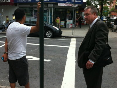 Council Member Daniel Dromm was allegedly assaulted by an angry truck driver, seen here, who was double-parked while making deliveries to Trade Fair supermarket in Jackson Heights on Wednesday.