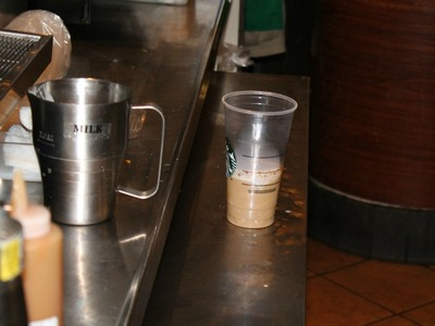 A venti Frappuccino, after milk is added to the coffee base. Starbucks employees said there was no way the drink approached 50 percent milk.