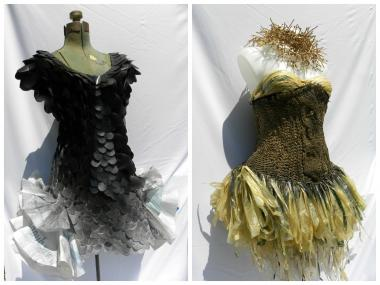 "Two dresses made mostly out of recycled plastic garbage bags by Staten Island artist, Gustavo Galvan. The dresses will be featured in his upcoming exhibit, ""Shopping Bag Intricacies,"" at Snug Harbor Cultural Center."