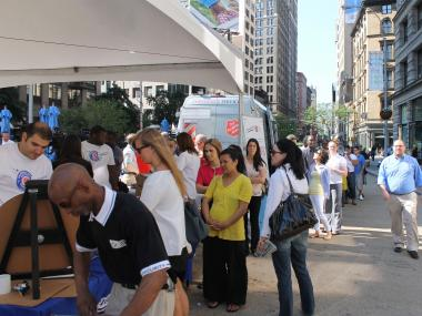 Large crowds gathered outside Madison Square Park on Fri., June 1, 2012, for National Donut Day.