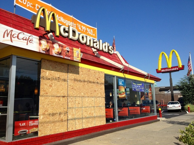 The Flatbush Avenue McDonald's one day after a minivan crashed through the front window, killing 64-year-old Phyllis Pitt, who was on the sidewalk.