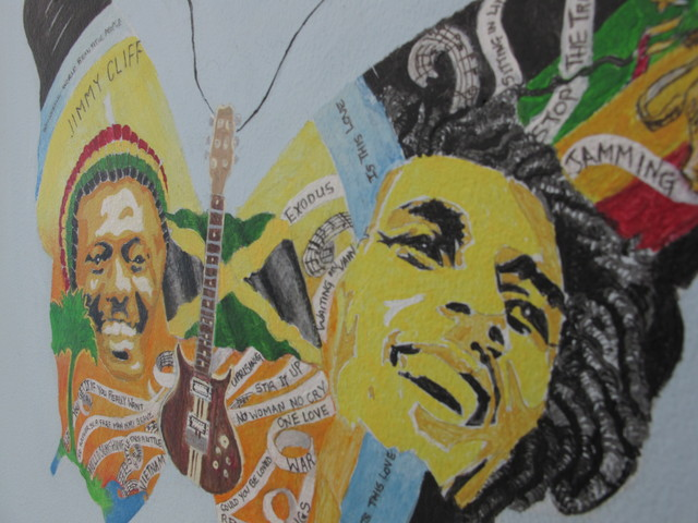 <p>Bob Marley is painted inside butterfly wings on the wall of St. Luke&#39;s Hospital in Morningside Heights.</p>