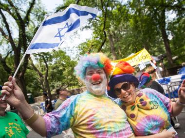 Clowns get in on the act at the annual Celebrate Israel Parade on June 3rd, 2012.