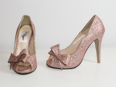 "Pink glitter open toe pumps with bow in size 3 from the Odd Slipper - ""Rose"" $110"